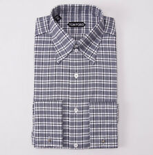 NWT $635 TOM FORD High Collar Gray-White Check Shirt Slim-Fit 15.5 French Cuffs