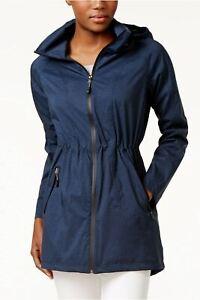 32 Degrees Cinched-Waist Hooded Anorak Raincoat Blue L NWT! $100