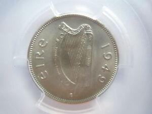 IRELAND Eire 6 pence 1949 PCGS UNC Details Dog