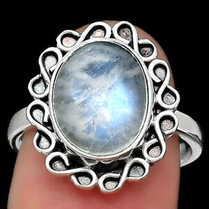 Natural Rainbow Moonstone - India 925 Sterling Silver Ring s.7 Jewelry E026