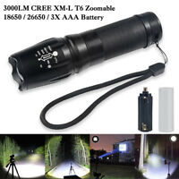 CREE T6 LED Zoomable Flashlight Waterproof Torch Hunt Light Super Bright 18650