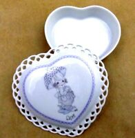 Enesco Precious Moments Lidded Trinket Box Heart With Lattice Edge Vintage 1988