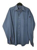 Jeff Rose Italy Mens XL 100% Cotton Blue Tattersall Button Down Shirt