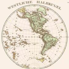 Landkarte GLOBUS🦅🇺🇸🍁🐢🐆🐊🐍🇧🇷🇸🇷 Erde Westen Amerika - Kupferstich 1875