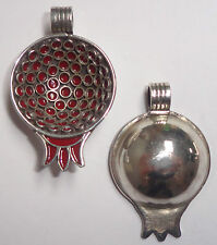 Berber Pomegranate Pendant- 2-Sided- New! Small Silver & Red Enamel Moroccan