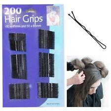 200 HAIRGRIPS TRIPLE WAVE BLACK HAIR GRIPS CLIPS SALON SLIDES BOBBY PINS