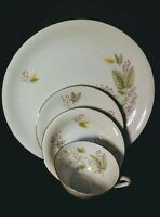 Winterling Bavaria Germany China Gray & Pink Floral. 8 pieces