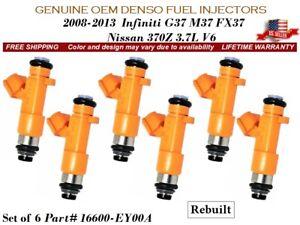 6 Fuel Injectors OEM DENSO For 08-13 Nissan 370Z & Infiniti G37 M37 FX37 3.7L V6