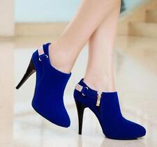 Women's Rhinestone Suede Fashion  Ankle Winter Boots High Heel Shoes Wedding sz