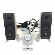 Logitech 2.1 Z3 Desktop Computer Speakers Wood Grain Wired With Controller