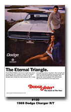 13x19 1969 DODGE CHARGER R/T MOPAR ART POSTER ETERNAL TRIANGLE AD BROCHURE