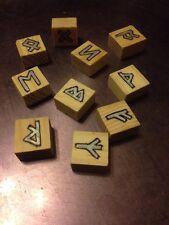 Rune Starter kit. Set of wooden block Rune stones. pouch. casting sheet.