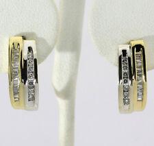 Diamante J Pendiente de aro 14k 2 Colores Oro Redondo Brillantes Barritas Canal