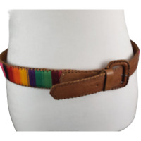Handmade Guatemalan Belt Brown Leather and handwoven multi-color cotton fabric M