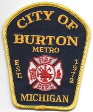 "City of Burton - Metro  Fire Dept., Michigan  (3.25"" x 4.25"" size)  fire patch"