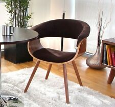 Retro Office Accent Chair Wood Seat Upholstered Vintage Guest Mid Century Modern