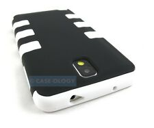 BLACK WHITE REINFORCED RUGGED CASE COVER SAMSUNG GALAXY NOTE III 3
