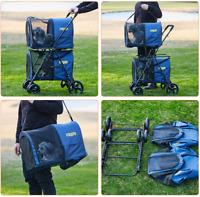 Folding 4 Wheels Pet Stroller Small Medium 2 Dogs Cats Carrier Strolling Blue US