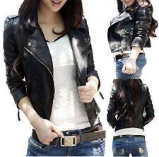 Ladies Fashion Black PU FAUX LEATHER Cropped Biker JACKET Coat Zip 8 10 12 14 16