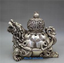 Collect old Tibetan silver Handwork carved Dragon Turtle Statue incense burner z