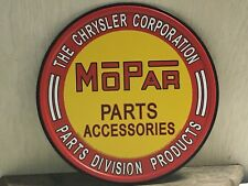 "~Mopar Parts ~ 12"" Round Metal Sign auto Garage mancave Gearhead Chrysler Dodge"