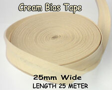 25mm /1 inch CREAM Cotton Bias Binding Tape Folded Trimming Edging 25 meter roll