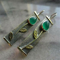 Fashion 925 Silver Exquisite Emerald Cut Tree Leaves Ear Hook Dangle Earrings