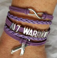 Alzheimer's Warrior Awareness Adjustable Leather Wrap Bracelet Infinity Ribbon