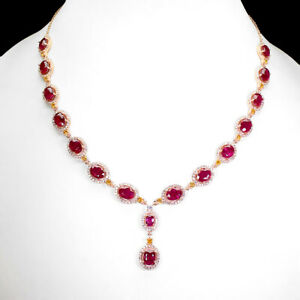 Oval Red Ruby 8x6mm Cz 14K Rose Gold Plate 925 Sterling Silver Necklace 21 Ins