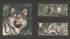 WOLF SONG PANEL Adult & Cubs Wolves Wildlife Animals Nature Summer Green Fabric