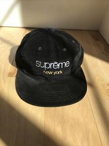 Supreme Classic Logo Corduroy 6 Panel Hat Black FW19