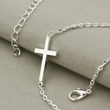 Mens Womens Silver Cross Pendant Chruch Necklace Polished 316L Stainless Steel