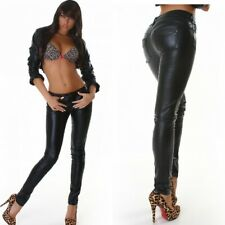 Women's Biker faux Leather Skinny Slim Trousers Black