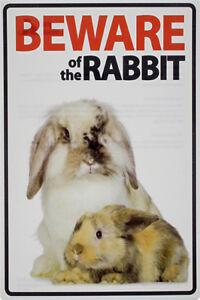 Metal Tin Sign beware of rabbit  Pub Home Vintage Retro Poster Cafe ART