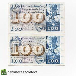 SWITZERLAND: 2 x 100 Swiss Franc Banknotes.