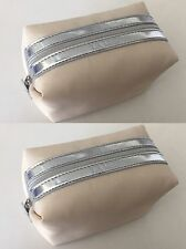 La Mer cream beige Satin like silver trim Cosmetic Bag Makeup Bag Case Pouch x 2