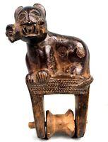 Arte Africano - Antico Pinza Di Puleggia Baule - Heddle - Leone - 14,2 CMS