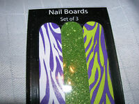 "Emery nail boards (3 pack) file 7"" diva glitter Manicure Pink Lips Green Animal"