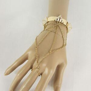 Women Gold Metal Blue White Orange Pyramid Bracelet Hand Chain Slave Ring Wrist