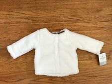 NWT Carter's Baby Girl white Fuzzy Snap front jacket sz 6-9M