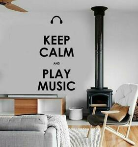 Keep Calm & Play Music Quote Living Room Home Decal Wall Decor Art Sticker Black