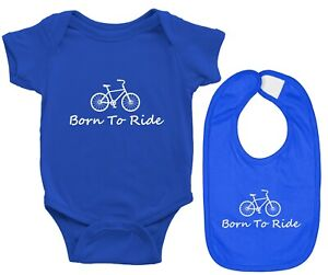 Baby Bodysuit and Bib Ride Bicycle Infant Romper Clothes Gift Born To Ride Bike