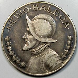 1934 Panama 1/2 Balboa Silver Coin