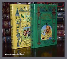 Wizard of Oz 2 Volume Set by L Frank Baum Sealed Leather Collectible Books 1-10