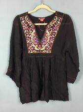 Monsoon Black Silk Pink Purple Gold Metallic Floral Embroidered Blouse 10 - B64