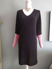 Traffic People Womens Dress Black knit pink Cable Batwing sleeves SMALL