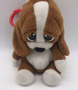 "Rare Applause Sad Sam Puppy Dog Keychain Coin Purse Backpack Clip 5"" H4"