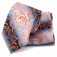 Tie Pocket Square Silver Orange Blue Paisley Set 100% Silk Wedding Necktie Hanky