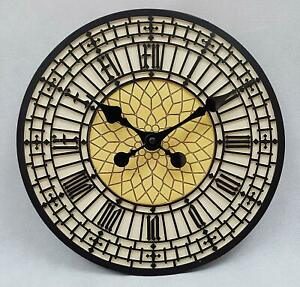 30cm Garden Wall Clock Big Ben Roman Numeral Face Home Patio Indoor Outdoor