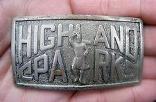 Vtg HIGHLAND PARK Belt Buckle DALLAS Robbins-Attleboro SCOTS Brass TX RARE VG++